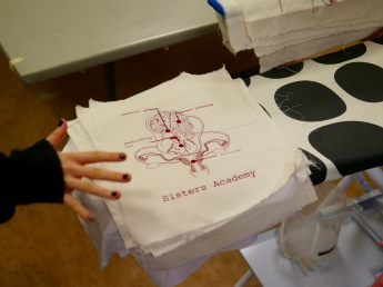 early prints of the Sisters Academy logo at Myndlistaskólinn í Reykjavík, photo credit: Eduardo Abrantes