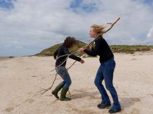 artists Maj Horn and Annette Skov exploring the landscape at Fanø, photo credit: Eduardo Abrantes
